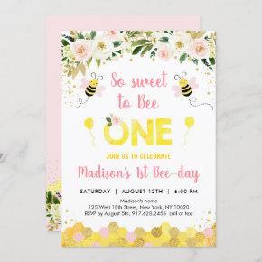 Pink Bee First Birthday Invitation