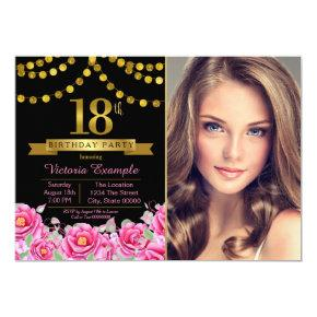 Pink Black Gold Modern 18th Birthday Party Invitations