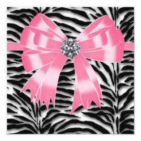 Pink Black Pink Zebra Party Invitations Template Candied Clouds