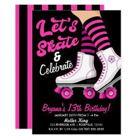 Pink & Black Roller Skate Skating Birthday Party Invitation