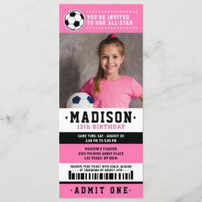 Pink Black Soccer Ticket Birthday Party Photo Invitation
