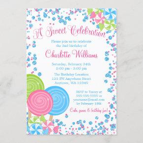 Pink Blue Faux Glitter Candy Birthday