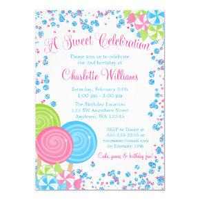 Pink Blue Faux Glitter Candy Birthday Invitations