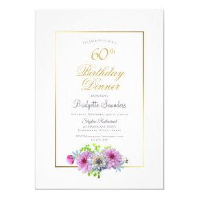 Pink Blue Floral Gold Border 60th Birthday Dinner Invitation