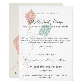 PINK BLUE KITE KIDS ACTIVITY CLASS INVITE TEMPLATE