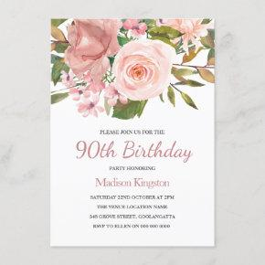 Pink Blush Rose Gold 90th Birthday Party Invite