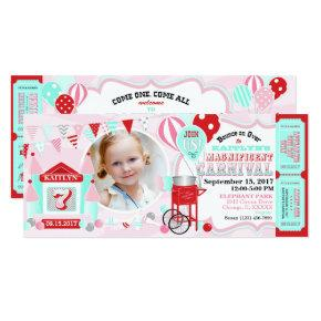 Pink Bounce House Carnival Birthday Invitation