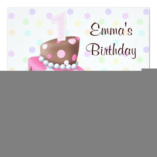 Remarkable Pink Brown Cake Presents Girls 1St Birthday Party Candied Clouds Funny Birthday Cards Online Sheoxdamsfinfo