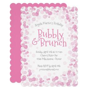 Pink Bubbly and Brunch Party Invitations