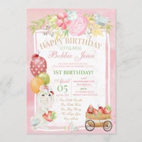 Pink Bunny Ladybug Strawberry Floral Birthday Invitation