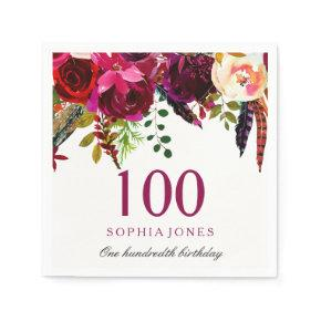 Pink & Burgundy Boho Floral 100th Birthday Party Napkins