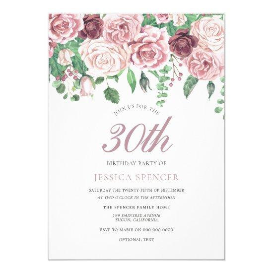 Pink Burgundy Watercolor Rose 30th Birthday Invite – Candied
