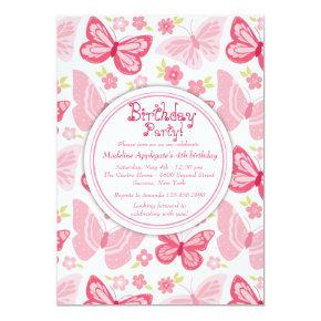 Pink Butterflies Invitation
