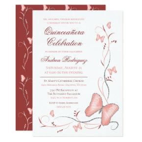 Pink Butterflies & Swirls Quinceanera Invitation