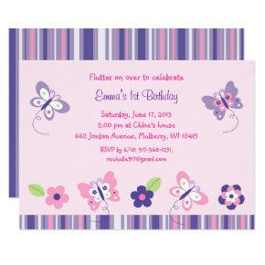 Pink Butterfly 1st Birthday Invitation