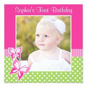 Pink Butterfly Green Polka Dot 1st Birthday Photo Invitation