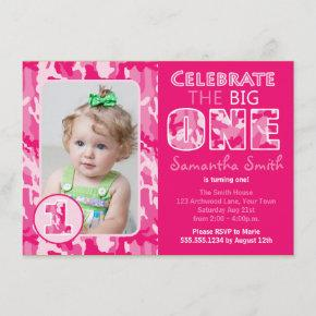 Pink Camouflage / Camo Theme First Birthday Invitation
