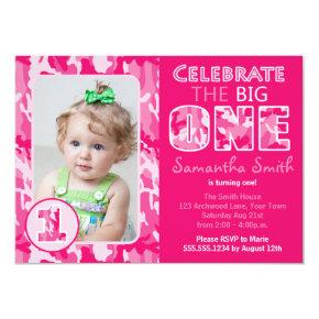 Pink Camouflage / Camo Theme First Birthday Invitation