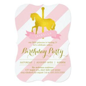 Pink Carousel Horse Birthday Party Invitations