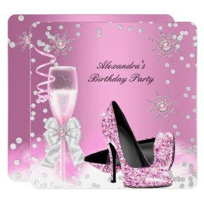 Pink Champagne High Heels Birthday Party 2 Invitation