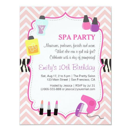 Pink Chevron Spa Birthday Party Invitation Candied Clouds
