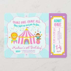 Pink Circus Carnival Birthday Party Ticket Invitation