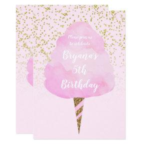 Pink Cotton Candy & Gold Confetti Birthday Party Invitations