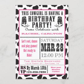 Pink Cow Print Cowgirl Birthday Invitation