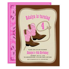 Pink Cowgirl Boots | Girl's Western Birthday Party Invitation