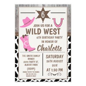 Pink Cowgirl Boots Wild West Birthday Invitations