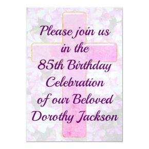 Religious 85th birthday invitations candied clouds pink cross and floral 85th birthday invitation filmwisefo