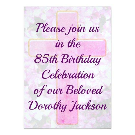 Pink cross and floral 85th birthday invitations candied clouds pink cross and floral 85th birthday invitations filmwisefo