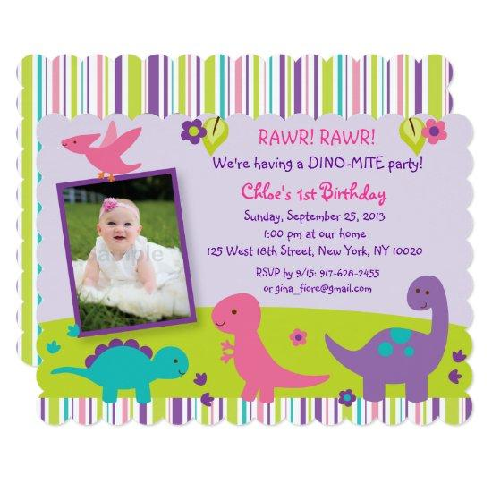 Pink Dinosaur 1st Birthday Invitations Candied Clouds