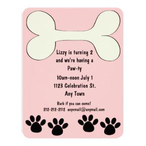 Pink Doggy Theme Birthday Invitation