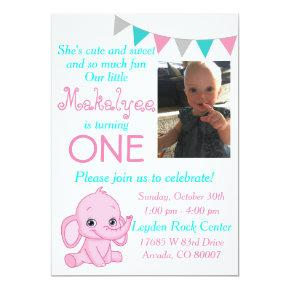 Pink Elephant First Birthday Party Invitations