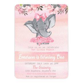 Pink Elephant First birthday, Peanut girls Invitations