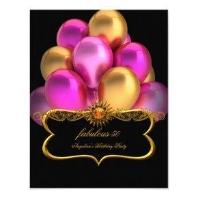 Pink Fabulous Black Gold Balloons Birthday Party Invitation