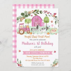 Pink Fall Farm Pumpkin Birthday Invitation