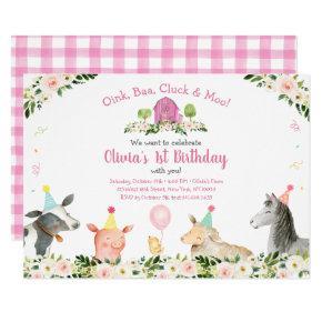 Pink Farm Animal Barnyard Floral Birthday Invitation