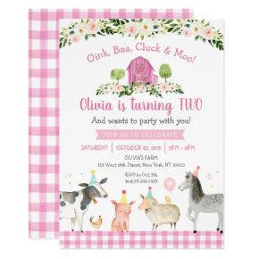 Pink Farm Animal Floral 2nd Birthday Invitation