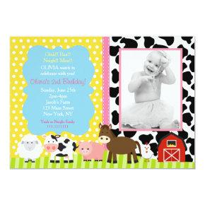 Pink Farm Barnyard Birthday Party Invitations