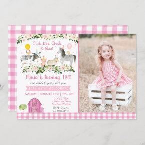 Pink Farm Barnyard Floral Birthday Invitation