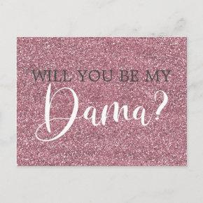 Pink Faux Glitter Quinceanera Dama Proposal Invitation Post