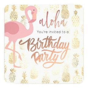 pink flamingo and tropical pineapples Invitations