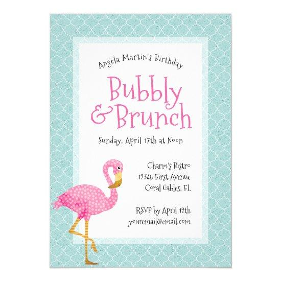 pink flamingo bubbly birthday brunch invitations candied clouds