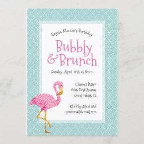 Pink Flamingo Bubbly Birthday Brunch Invitation