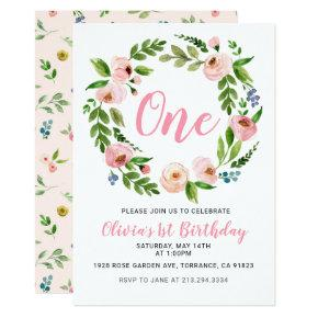 Pink Floral 1st Birthday  | Peony Girl
