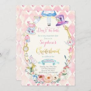Pink Floral Alice In ONEderland Birthday Tea Party Invitation