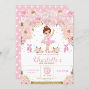 Pink Floral Ballerina Birthday Tutu Ballet Dance Invitation