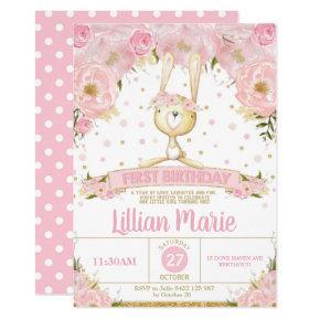Pink Floral Bunny 1st Birthday Invitation Girl